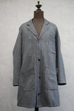 mid 20th c. salt&pepper cotton atelier coat