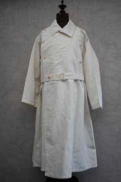 mid 20th c. French military H.M. double breasted linen cotton coat