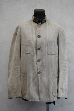 cir. early 20th c. herringbone linen cotton jacket NH