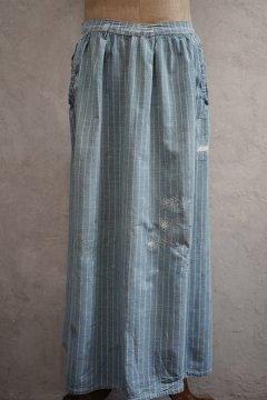 early 20th c. indigo checked cotton apron
