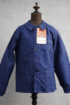 mid 20th c. blue moleskin work jacket dead stock 46