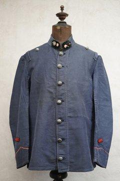 early 20th c. dark blue moleskin firefighter jacket