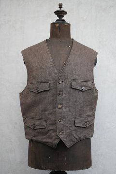 cir. mid 20th c. brown salt&pepper hunting gilet dead stock