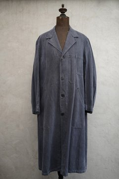 mid 20th c. black cotton linen maquignon coat