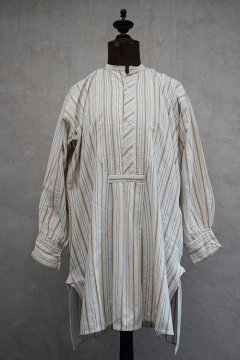 early 20th c. beige×white striped cotton shirt