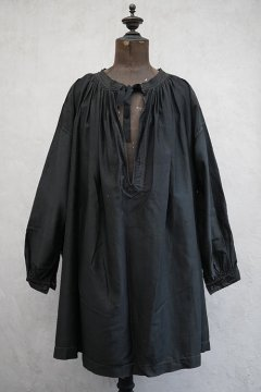 early 20th c. black moleskin work smock