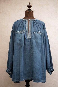 19th c. embroidered indigo linen smock biaude