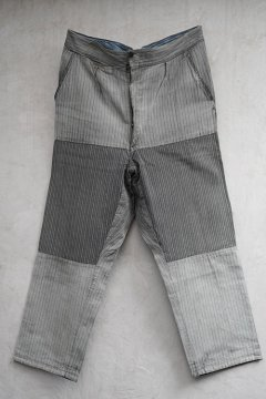 cir.1940's patched gray stripe cotton work trousers