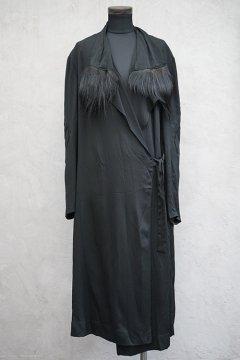 1930's-40's Samaritaine black silk wrap dress/coat