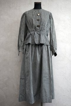 early 20th c. gray striped blouse with skirt