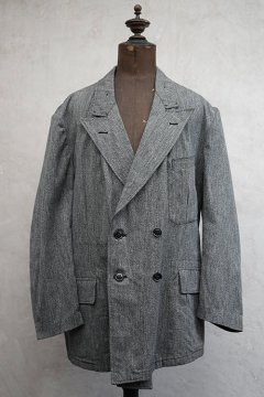 cir.1940's salt&pepper cotton double breasted jacket dead stock