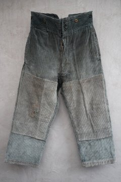 1930's-1940's patched blue gray corduroy work trousers