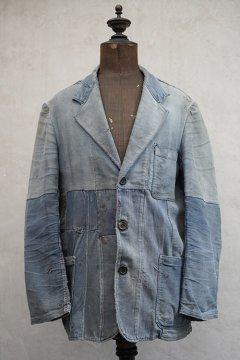 1940's patched blue moleskin work jacket