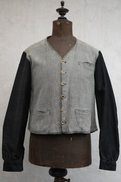 ~1930's gray checked cotton gilet jacket