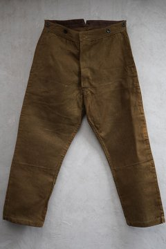 1930's brown linen work trousers dead stock