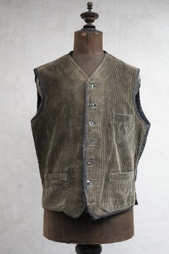 1930's dark brown corduroy work gilet