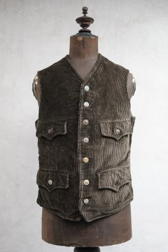 cir.1930's dark brown corduroy hunting gilet