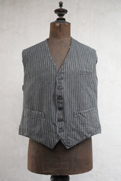 1930's-1940's gray striped cotton work gilet