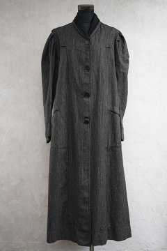 early 20th c. salt&pepper striped wool coat