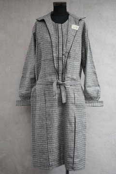 1920's-1930's gray checked dress dead stock