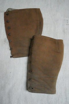 early 20th c. brown linen gaiters