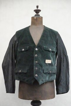 mid 20th c. green cord gilet jacket dead stock