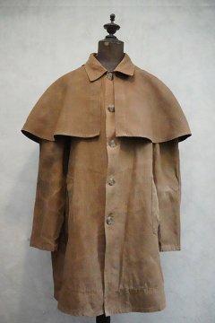 1940's-1950's brown linen hunting cape coat