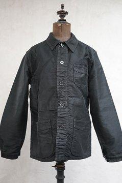 mid 20th c. black moleskin work jacket
