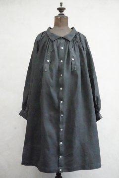 ~early 20th c. indigo linen smock / biaude open
