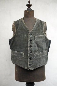 1930's dark gray corduroy work gilet