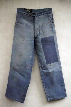 1940's-1950's patched blue moleskin work trousers