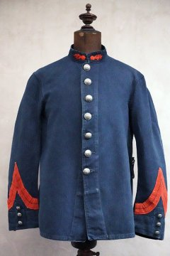 early 20th c. indigo linen cotton firefighter jacket
