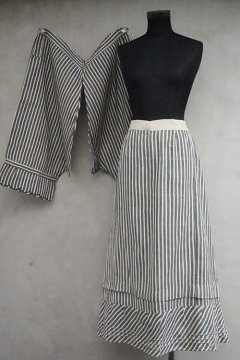 early 20th c. gray striped skirt and drawers dead stock