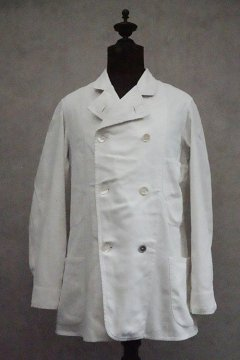 early 20th c. double breasted white cotton jacket