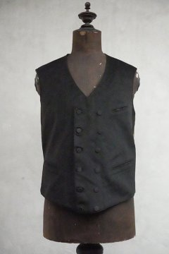 early 20th c. double breasted black wool gilet