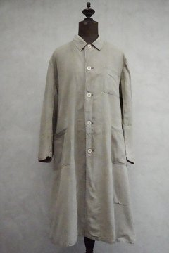 ~1940's gray beige linen cotton work coat