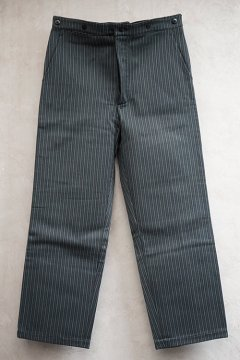 mid 20th c. black × blue striped pique work trousers dead stock