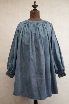 early 20th c. striped indigo cotton smock short