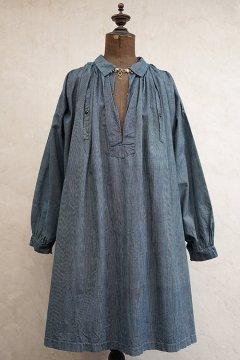 early 20th c. striped indigo cotton smock