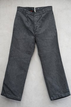 mid 20th c. striped salt&pepper cotton work trousers dead stock