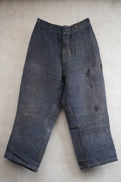 1930's-1940's indigo wool linen work trousers