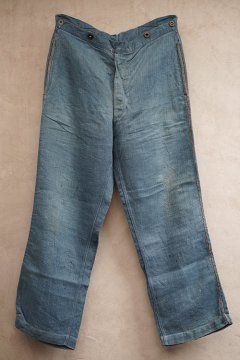 ~early 20th c. indigo herringbone linen firefighter trousers