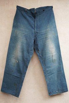 ~1930's indigo linen cotton work trousers