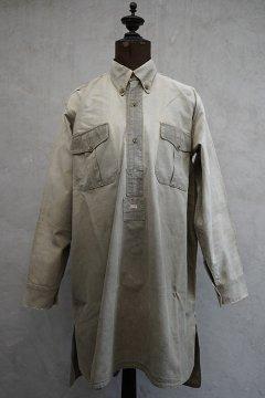 1930's-1940's French militaly khaki cotton shirt