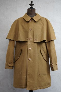 cir.1940's brown canvas cape coat dead stock