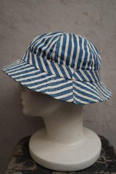 indigo striped cotton hat