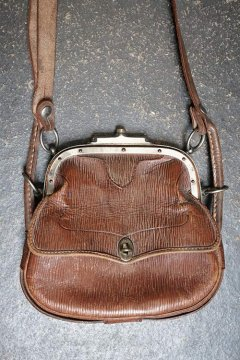 early 20th c. leather shoulder bag