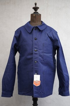 mid 20th c. blue cotton twill work jacket dead stock