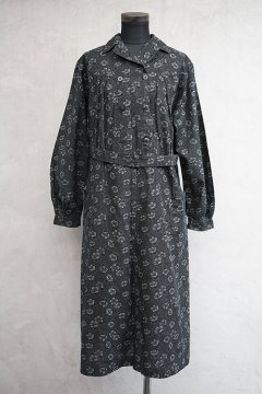1930's printed black cotton work dress