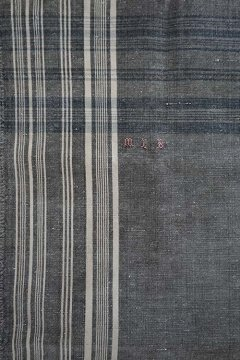 19th c. indigo × black linen cotton scarf